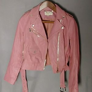 Michael Kors pink crinkle leather biker jacketNWOT
